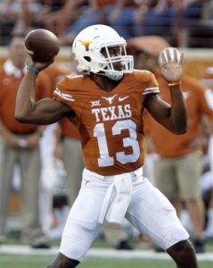 "FILE - In this Sept. 19, 2015, file photo, Texas quarterback Jerrod Heard passes during the first half of an NCAA college football game against California in Austin, Texas. The Longhorns may have found their quarterback of the future in the redshirt freshman, whose play in his first two starts has energized the program and prompted the slogan of ""In Heard We Trust.""(AP Photo/Michael Thomas, File)"